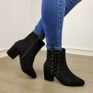Black Faux Suede Ankle Booties Side Laced Up-ii